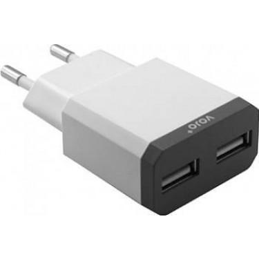 Incarcator retea Vojo Dual USB 2400 mah white / grey