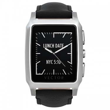 Ceas Vector Meridian Smartwatch carcasa argintie din otel inoxidabil curea din piele neagra