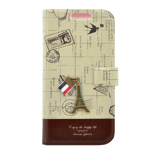 Husa Procell book Happy Life France Visa pt Apple iPhone 5S