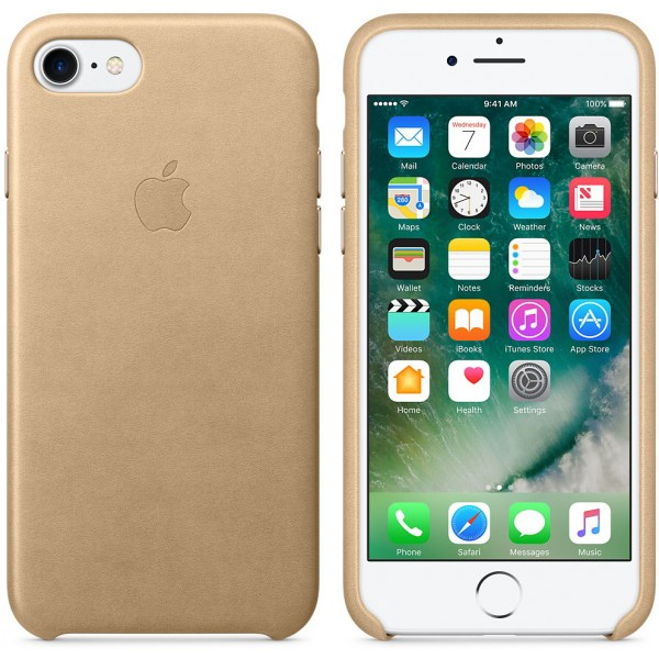 Husa protectie spate Apple piele MMY72 tan gold pt iPhone 7