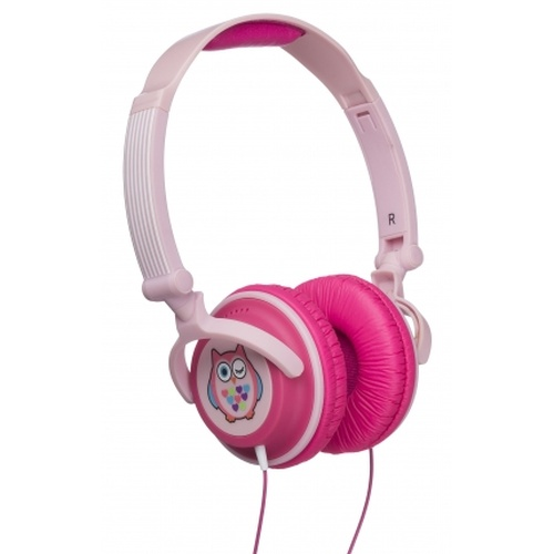 Casti cu fir KitSound Owl pink