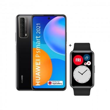Pachet Huawei P smart 2021, midnight black + Huawei Watch Fit, black, RESIGILAT