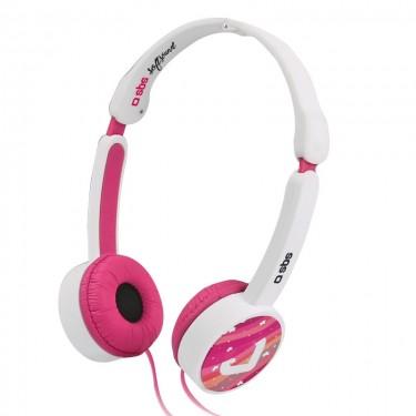 Casti cu fir si microfon SBS cu limitator volum pana la 85 DB, pink