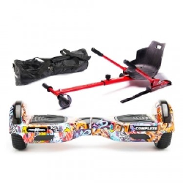 PACHET SPECIAL Hoverboard Scooter electric Freewheel Complete Graffiti blue + Hoverseat Kart Kit - Geanta Cadou