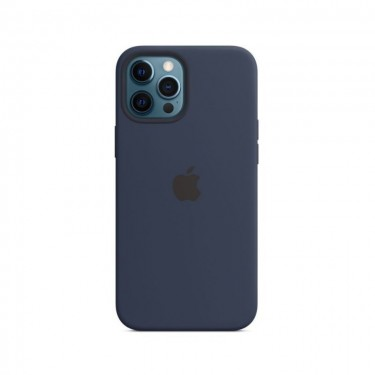 Husa protectie spate din silicon MagSafe pt Apple iPhone 12 Pro Max MHLD3ZM, navy
