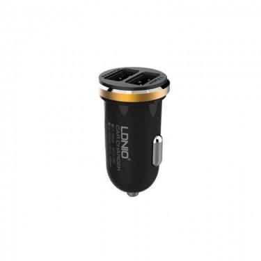 Incarcator auto Ldnio dual USB si cablu microUSB fast charging, black