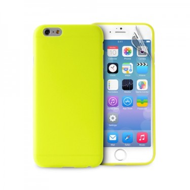 Husa protectie spate Puro 0.3 green si folie pt Apple iPhone 6 plus