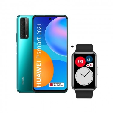Pachet Huawei P smart 2021, crush green + Huawei Watch Fit, black
