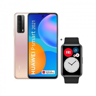 Pachet Huawei P smart 2021, blush gold + Huawei Watch Fit, black