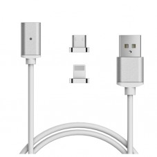 Cablu de date Magnetic Adsorption Lightning si microUSB, white