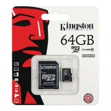 Card de memorie Kingston microSDXC 64GB + adaptor SD clasa 10
