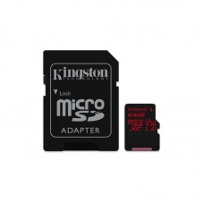 Card de memorie Kingston MicroSDXC Canvas React, 64GB, Class 10, 100R, UHS-I U3, V30 + adaptor