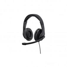 Casti office cu fir si microfon Hama HS-USB300, black