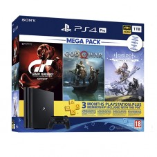 Consola Sony PlayStation 4 Pro 1TB GOW-HZD-GTS + 3 jocuri + abonament inclus, black