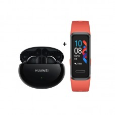 Pachet Huawei FreeBuds 4i, black+ Huawei Band 4, sunrise amber
