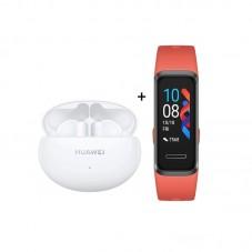Pachet Huawei FreeBuds 4i, white + Huawei Band 4, sunrise amber