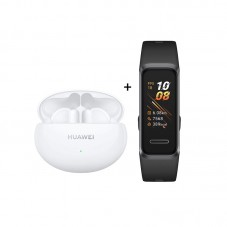 Pachet Huawei FreeBuds 4i, white + Huawei Band 4, graphite black