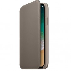 Husa Apple Leather Folio MQRY2ZM/A Brown-Taupe pt iPhone X