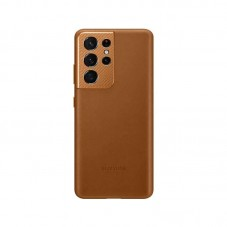 Husa protectie spate  Samsung Leather Cover pt Samsung Galaxy S21 Ultra, brown