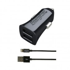Incarcator auto Energizer 2 USB si cablu lightning 1m, black