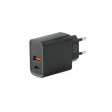 Incarcator retea Fonex USB + USB Type-C, black