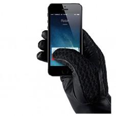 Manusi Touchscreen Crosetate cu Insertii Piele Marimea L
