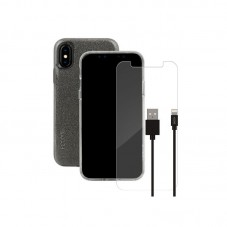 Pachet Skech Husa Protectie Spate Sparkle Clear + Cablu Lightning + Folie Sticla pt iPhone XXS