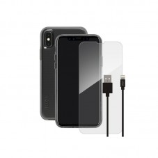 Pachet Sketch Husa Clear + Cablu Lightning + Folie Sticla pt iPhone XXS