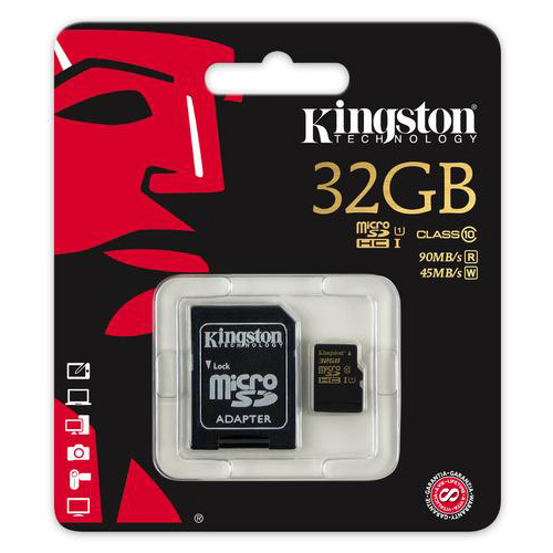 Card de memorie Kingston microSDHC 32GB clasa 10 90r/45w + adaptor SD