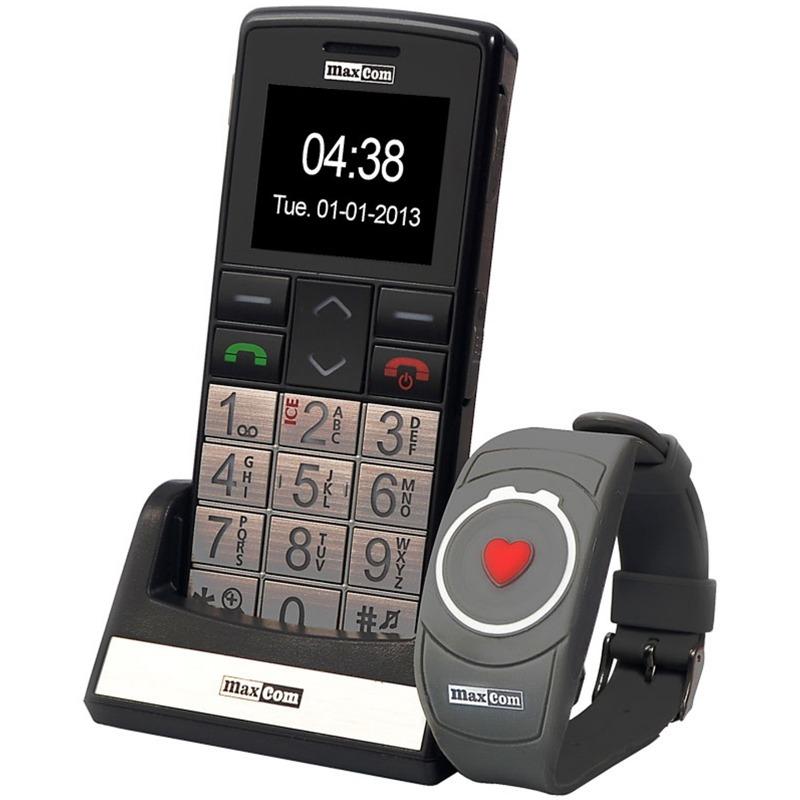 Telefon Maxcom MM715BB + Bratara SOS silver