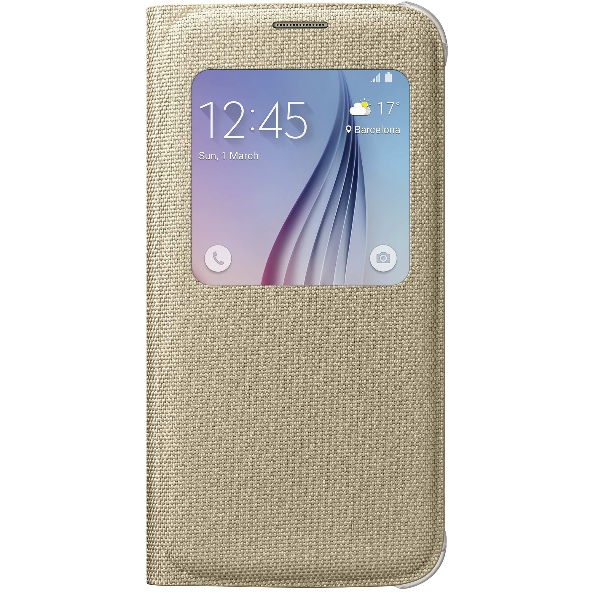 Husa Samsung S-View Cover Fabric EF-CG920BFEGWW gold pt Galaxy S6