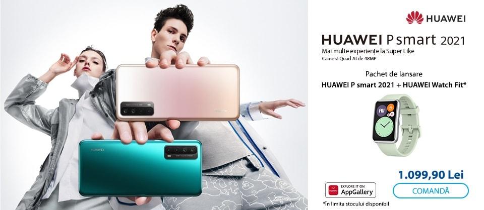 pachet huawei p smart 2021 + smartwatch huawei watch fit